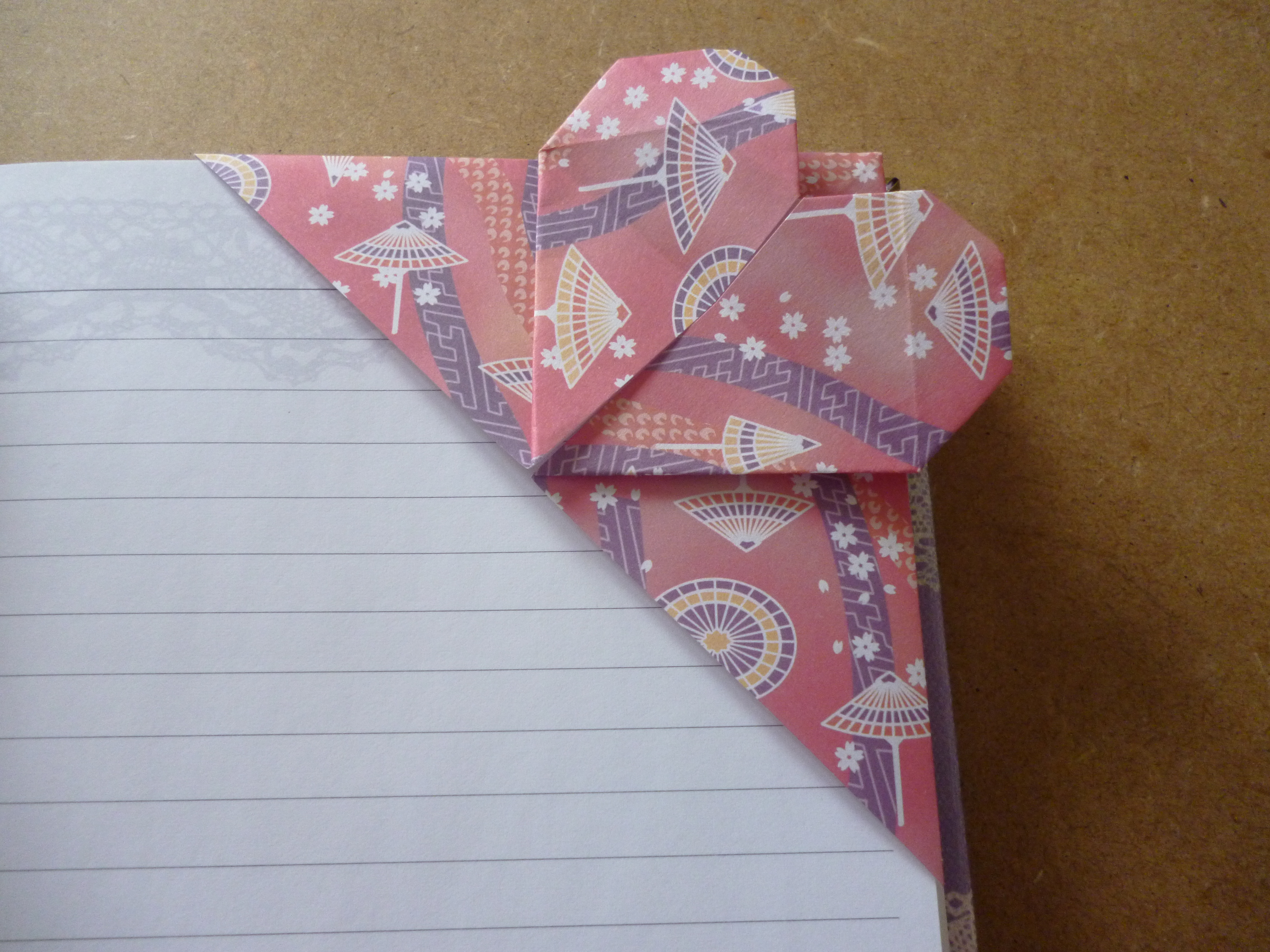 origami heart corner bookmark instructions