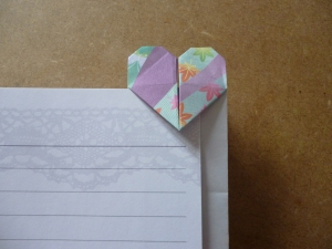 Rectangular bookmark with heart on top