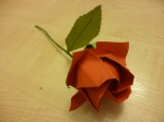 Make a rose with a short stem so that it is just taller than the vase